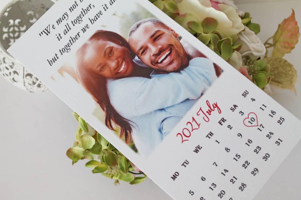 einseitige hochzeitseinladung mit kalender 003